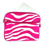 Premium Apple iPad Nylon Sleeve Case w/ Zipper and Front Pocket - Pink/White Zebra