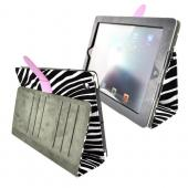 Original Kroo TITIAN Apple iPad 2/ New iPad Leather Stand Case w/ Leather Strap Closure & ID Slots, MIA3TTZ1 - White/ Black Zebra w/ Purple Strap