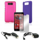 Essential Girly Bundle Package w/ Hot Pink & Purple Rubberized Hard Case, Mirror Screen Protector, Car & Travel Charger for Motorola Droid Ultra/ Droid MAXX