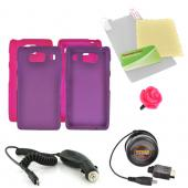 Motorola Droid RAZR HD Essential Girly Bundle Package w/ Hot Pink & Purple Rubberized Hard Case, Screen Protector, Rose Stopple, Car & Travel Charger