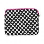 "Original Kroo USA Universal (Up to 9"" Tablets like Apple iPad/ iPad 2) Neoprene Sleeve Case, ND09PGW1 - White Polka Dots on Black w/ Hot Pink Zippers"