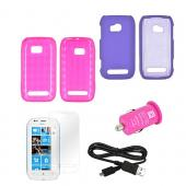 Nokia Lumia 710 Essential Pink Bundle Package w/ Hot Pink Crystal Silicone & Rubberized Hard Case, Mirror Screen Protector, Micro USB Data Cable, & Hot Pink USB Car Adapter