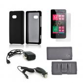 Essential Bundle Package w/ Black Rubberized Hard Case, Screen Protector, Leather Pouch, Car & Travel Charger for Nokia Lumia 810