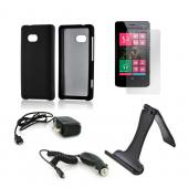 Essential Bundle Package w/ Black Rubberized Hard Case, Screen Protector, Portable Stand, Car & Travel Charger for Nokia Lumia 810
