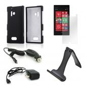 Essential Bundle Package w/ Black Rubberized Hard Case, Screen Protector, Portable Stand, Car & Travel Charger for Nokia Lumia 928
