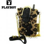 Licensed Playboy Fur Phone Pouch w/ Gold Chain Strap - Black Bunny on Leopard