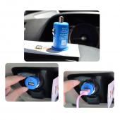 USB Miniature Colored Car Charger Adapter (1000 mAh) - Blue