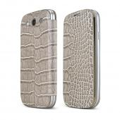 Gray Alligator Samsung Galaxy S3 Leather Textured Diary Flip Battery Door Case