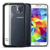 Clear Hard Back w/ Black Gummy Crystal Silicone TPU Lining for Samsung Galaxy S5