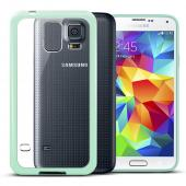 Clear Hard Back w/ Mint Gummy Crystal Silicone TPU Lining for Samsung Galaxy S5