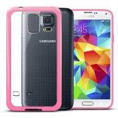 Clear Hard Back w/ Baby Pink Gummy Crystal Silicone TPU Lining for Samsung Galaxy S5