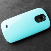 RS Sky Blue/ Black Slim Hard Cover Case on Tough Silicone Hybrid Case for Samsung Galaxy S4