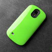 RS Lime Green/ Black Slim Hard Cover Case on Tough Silicone Hybrid Case for Samsung Galaxy S4