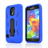 Blue Silicone Skin Case on Black Hard Cover Case w/ Kickstand for Samsung Galaxy S5