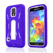 Purple Silicone Skin Case on White Hard Cover Case w/ Kickstand for Samsung Galaxy S5