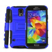 Blue Rubberized Hard Case w/ Kickstand on Black Silicone Skin Case w/ Holster for Samsung Galaxy S5
