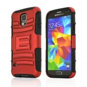 Red Rubberized Hard Case w/ Kickstand on Black Silicone Skin Case w/ Holster for Samsung Galaxy S5