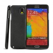 RS Black Crystal Silicone TPU Skin Case w/ Black Leather Textured Back & Hidden Card Compartment for Samsung Galaxy Note 3