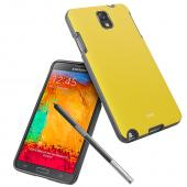 RS Black Crystal Silicone TPU Skin Case w/ Yellow Leather Textured Back & Hidden Card Compartment for Samsung Galaxy Note 3