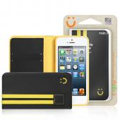 MobC Black/ Yellow Apple iPhone 5/5S Sporty Book Wallet Case; Best Design with Coolest Premium [PU/Faux Leather] Fashion Slim Wallet Case Cover w/ ID Slots & Free Screen Protector!