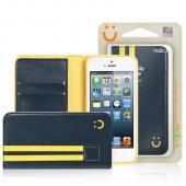 MobC Navy/ Yellow Apple iPhone 5/5S Sporty Book Wallet Case; Best Design with Coolest Premium [PU/Faux Leather] Fashion Slim Wallet Case Cover w/ ID Slots & Free Screen Protector!