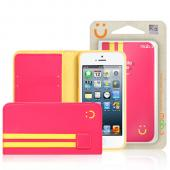 MobC Hot Pink/ Yellow Apple iPhone 5/5S Sporty Book Wallet Case; Best Design with Coolest Premium [PU/Faux Leather] Fashion Slim Wallet Case Cover w/ ID Slots & Free Screen Protector!