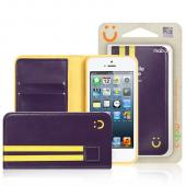 MobC Dark Purple/ Yellow Apple iPhone 5/5S Sporty Book Wallet Case; Best Design with Coolest Premium [PU/Faux Leather] Fashion Slim Wallet Case Cover w/ ID Slots & Free Screen Protector!