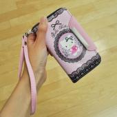 Hello Kitty Baby Pink w/ Black Lace Faux Leather Diary Flip Case w/ ID Slots & Wrist Strap for Samsung Galaxy S4 -  PKPDIR271