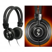 Original Luxmo Platinum Beat Bass Universal Headphones w/ Ear Cushions (3.5mm), PLTBEATBBK - Black/ Silver