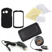 Pantech Swift Essential Bundle Package w/ Black Rubberized Hard Case, Screen Protector, Leather Pouch, Car & Travel Charger