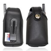 Original TurtleBack Universal Genuine Leather Pouch w/ Swivel Belt Clip for Medium Flip Phones - Black (FM)