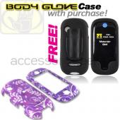 Motorola Evoke QA4 Hard Case - Floral on Purple (FREE Body Glove Case CRC90962)