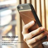 Apple iPhone 6/ 6S Case, Ringke [Brown] EDGE Series Folding Kickstand Protective TPU Cover Leather Back Case