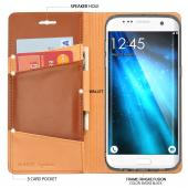 Samsung Galaxy S7 Edge Case, Ringke [SIGNATURE][Brown] Premium Genuine Leather Flip Wallet Case