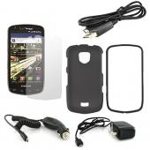 Samsung Droid Charge Essential Bundle Package w/ Black Rubberized Hard Case, Screen Protector, Travel Charger, Car Charger, and Samsung Data Cable