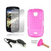 Samsung Droid Charge Pink Bundle Package w/ Hot Pink Crystal Silicone Case, Mirror Screen Protector, Car Charger, and Hot Pink Plunger Stand