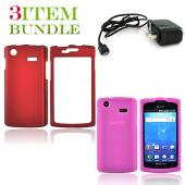 Samsung Captivate Bundle Package - Red Hard Case, Silicone Case & Travel Charger - (Essential Combo)