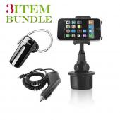 Samsung Fascinate Bundle Package - Macally Cup Holder, Car Charger & Samsung WEP460 Bluetooth Headset - (Roadster Combo)