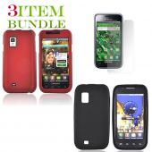 Samsung Fascinate Bundle Package - Red Hard Case, Silicone Case & Screen Protector - (Essential Combo)