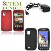 Samsung Fascinate Bundle Package - Red Hard Case, Silicone Case & Travel Charger - (Essential Combo)