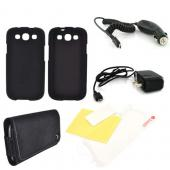 Samsung Galaxy S3 Essential Bundle Package w/ Black Rubberized Hard Case, Screen Protector, Leather Pouch, Car & Travel Charger