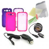 Samsung Galaxy S3 Essential Girly Bundle Package w/ Hot Pink & Purple Rubberized Hard Case, Mirror Screen Protector, Car & Travel Charger