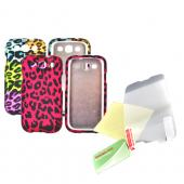 Samsung Galaxy S3 Essential Leopard Bundle Package w/ Multi-Colored Artsy Leopard & Hot Pink Leopard Rubberized Hard Cases & Mirror Screen Protector