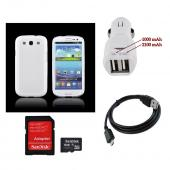 Samsung Galaxy S3 Essential Bundle w/ Ultra-Premium Glossy Snow White Hard Back Cover, Universal Dual USB Car Charger w/ Micro USB Data Cable, & 8GB Micro SDHC Memory Card w/ Adapter