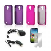 Essential Girly Bundle Package w/ Rose Pink & Purple Rubberized Hard Case, Mirror Screen Protector, Car & Travel Charger for Samsung Galaxy S4