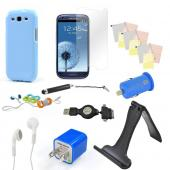 12 item Bundle w/ Sky Blue Crystal Silicone Skin Case, Blue Car & Home USB Charger Adapters, 4 Screen Protectors, Retractable Data/ Charger Cable, Stand, Cable Organizers, Extendable Stylus, & Stereo Headset w/ Answer/ End Button for Samsung Galaxy S3