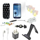 12 item Bundle w/ Black & White Polka Dot Crystal Silicone Skin Case, Car & Home USB Charger Adapters, 4 Screen Protectors, Retractable Data/ Charger Cable, Stand, Cable Organizers, Extendable Stylus, & Stereo Headset w/ Answer/ End Button for Samsung Gal