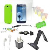 12 item Bundle w/ Lime Green Crystal Silicone Skin Case, Car & Home USB Charger Adapters, 4 Screen Protectors, Retractable Data/ Charger Cable, Stand, Cable Organizers, Extendable Stylus, & Stereo Headset w/ Answer/ End Button for Samsung Galaxy S3