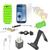 12 item Bundle w/ Lime Green & White Polka Dot Crystal Silicone Skin Case, Car & Home USB Charger Adapters, 4 Screen Protectors, Retractable Data/ Charger Cable, Stand, Cable Organizers, Extendable Stylus, & Stereo Headset w/ Answer/ End Button for Samsun