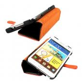 Original Zenus Galaxy Note Masstige Color Block Folio Case w/ Wrist Strap, SAGXN-MP5FL-BK - Black/ Orange
